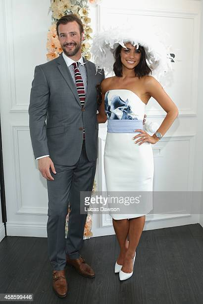 Kris Smith and Maddy King at the Myer Marquee on Stakes Day at Flemington Racecourse on November 8 2014 in Melbourne Australia