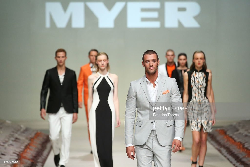 Kris Smith showcases designs by Arthur Galan AG at the Myer Spring/Summer 2014 Collections Launch at Fox Studios on August 8, 2013 in Sydney, Australia.