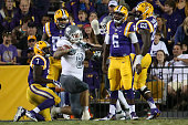 Kris Strange of the Eastern Michigan Eagles reacts after recovering a fumble by Brandon Harris of the LSU Tigers at Tiger Stadium on October 3 2015...