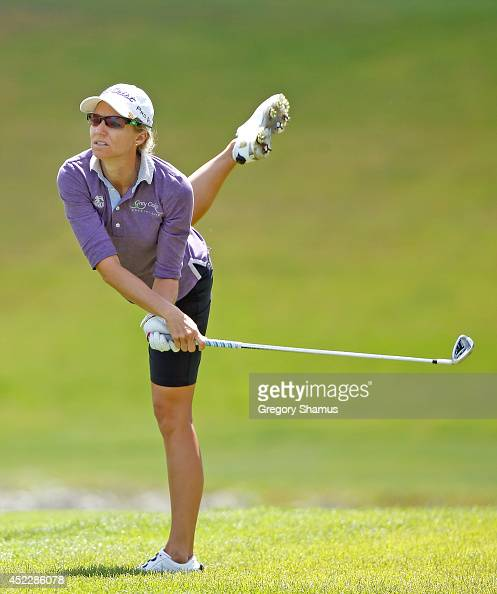 Kris Tamulis watches her shot to the 18th green during the first round of the Marathon Classic presented by Owens Corning and OI at Highland Meadows...