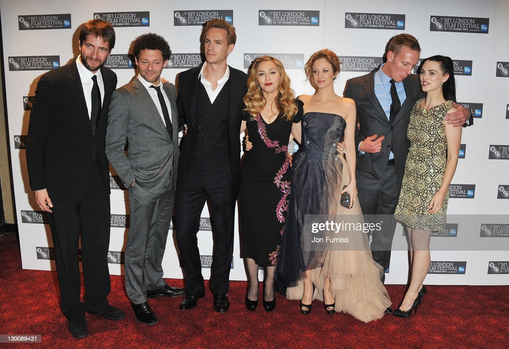 Kris Thykier, Richard Coyle, James D'Arcy, Madonna, Andrea Riseborough, Laurence Fox and Katie McGrath attend the screening of 'W.E.' at The 55th BFI London Film Festival at Empire Leicester Square on October 23, 2011 in London, England.