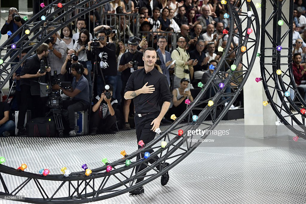 Kris Van Assche acknowledges the audience during the Dior Homme Menswear Spring/Summer 2017 show as part of Paris Fashion Week on June 25, 2016 in Paris, France.