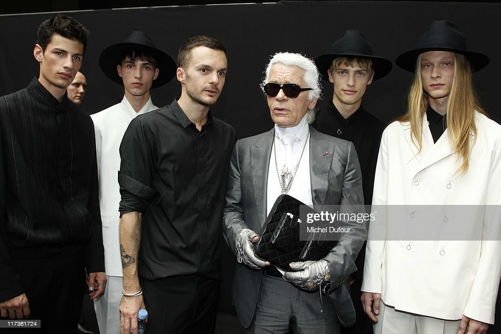 Kris Van Assche, Karl Lagerfeld and models attend the Dior Homme Menswear Spring/Summer 2012 show as part of Paris Fashion Week at on June 25, 2011 in Paris, France.