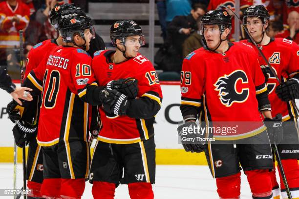 Kris Versteeg Johnny Gaudreau Micheal Ferland and Sean Monahan in an NHL game against the St Louis Blues at the Scotiabank Saddledome on November 13...