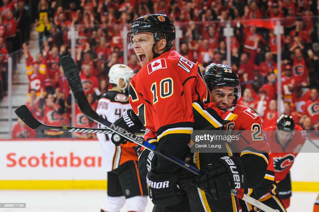 Kris Versteeg #10 of the Calgary Flames celebrates with Sean Monahan #23 after scoring against the Anaheim Ducks in Game Three of the Western Conference First Round during the 2017 NHL Stanley Cup Playoffs at Scotiabank Saddledome on April 17, 2017 in Calgary, Alberta, Canada.