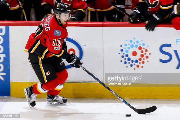 Kris Versteeg of the Calgary Flames plays the puck down the ice during third period action against the Winnipeg Jets at the MTS Centre on January 9...