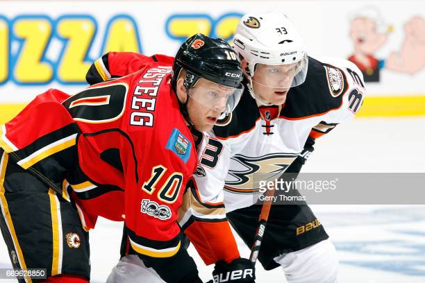 Kris Versteeg of the Calgary Flames skates against Jakob Silfverberg of the Anaheim Ducks during Game One of the Western Conference First Round...