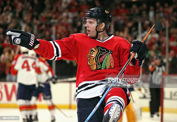 Kris Versteeg of the Chicago Blackhawks celebrates his second period goal against the Florida Panthers at the United Center on February 24 2015 in...