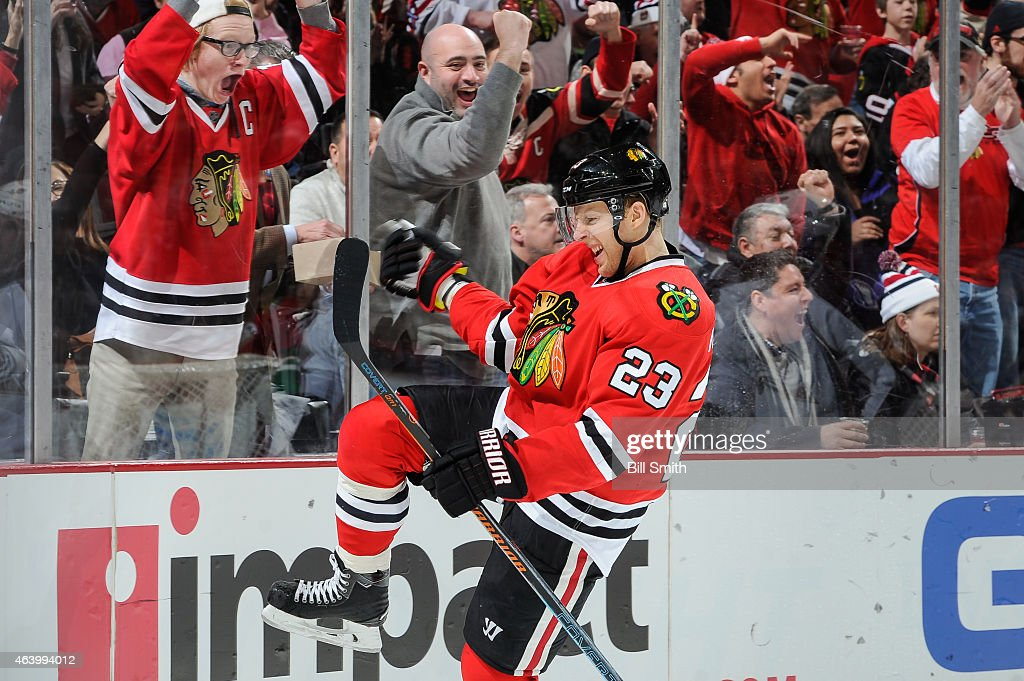 <a gi-track='captionPersonalityLinkClicked' href=/galleries/search?phrase=Kris+Versteeg&family=editorial&specificpeople=2242969 ng-click='$event.stopPropagation()'>Kris Versteeg</a> #23 of the Chicago Blackhawks reacts after scoring against the Colorado Avalanche in the second period during the NHL game at the United Center on February 20, 2015 in Chicago, Illinois.