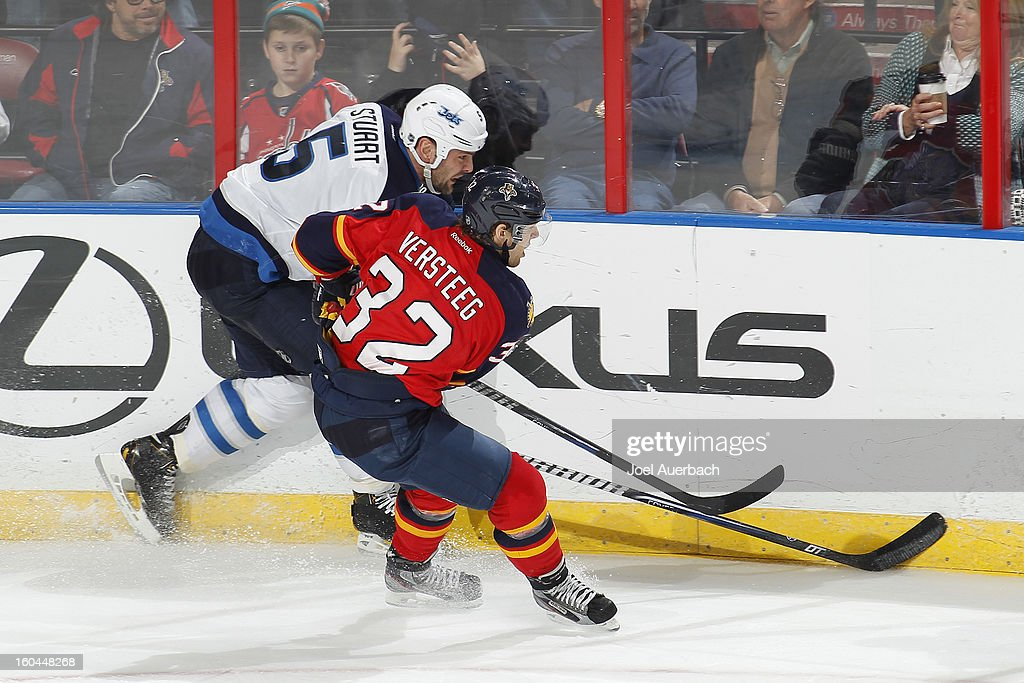 <a gi-track='captionPersonalityLinkClicked' href=/galleries/search?phrase=Kris+Versteeg&family=editorial&specificpeople=2242969 ng-click='$event.stopPropagation()'>Kris Versteeg</a> #32 of the Florida Panthers and Mark Stuart #5 of the Winnipeg Jets skate after a loose puck at the BB&T Center on January 31, 2013 in Sunrise, Florida. The Panthers defeated the Jets 6-3.