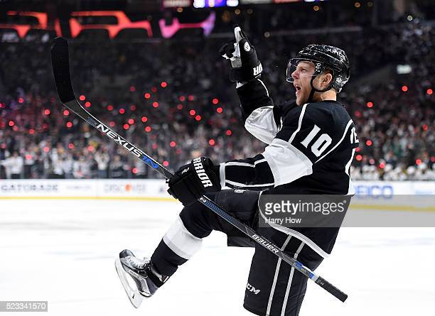 Kris Versteeg of the Los Angeles Kings celebrates his goal to tie the score 33 against the San Jose Sharks during the second period of Game Five of...