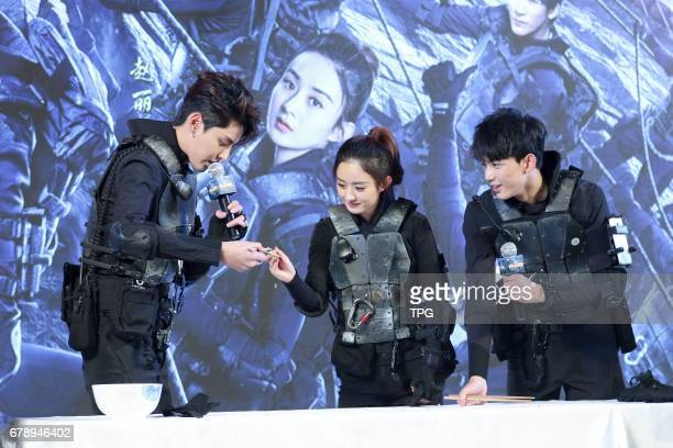Kris Wu and Zhao Liying attend the production conference of reality show 72th floor on 04th May 2017 in Beijing China