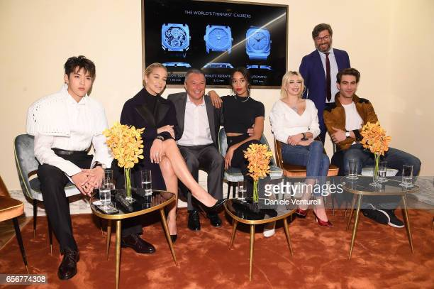 Kris Wu Jasmine Sanders JeanChristophe Babin Laura Harrier Caroline Vreeland Guido Terreni and Jon Kortajarena attends Bvlgari press Breakfast At...