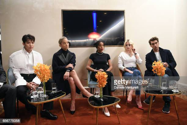 Kris Wu Jasmine Sanders Laura Harrier Caroline Vreeland and Jon Kortajarena attend Bvlgari press Breakfast At Baselworld 2017 on March 23 2017 in...