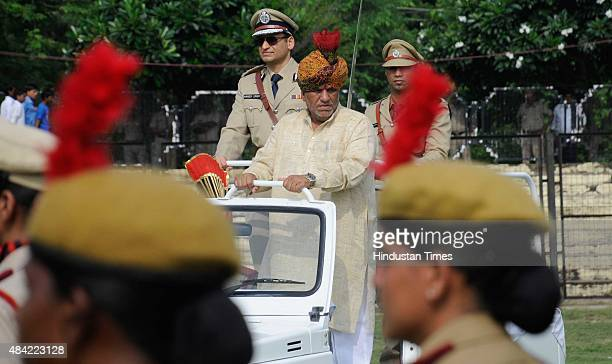 Krishan Lal Panwar Haryana Transport Housing Minister inspecting the Independence Day parade at Tau Devi Lal stadium on August 15 2015 in Gurgaon...