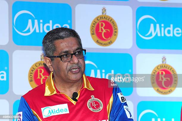 Krishan Sachdev MD Carrier Midea India during a press conference to announce the partnership of Carrier Midea India with Royal Challengers Bangalore...