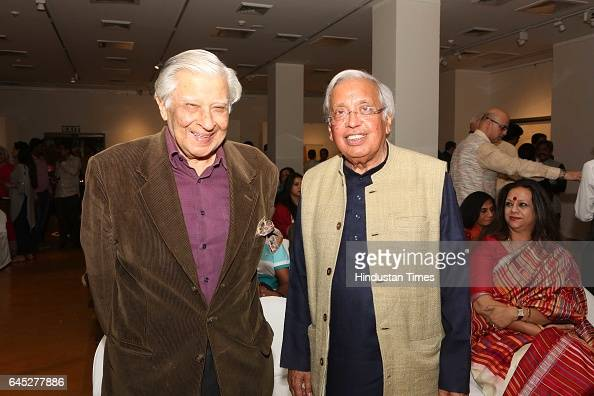 Krishen Khanna and Ashok Vajpeyi during the 95th birth anniversary of late artist SH Raza at Visual Art Gallery IHC on February 22 2017 in New Delhi...