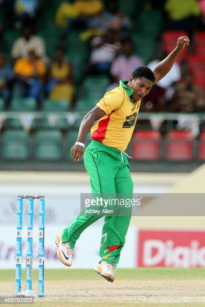 Krishmar Santokie celebrates the wicket of Jason Holder during the Limacol Caribbean Premier League 2014 final match between Guyana Amazon Warriors...