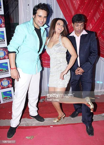 Krishna Abhishek Rakhi Sawant and Rajeev Nigam on the sets of the TV show 'Comedy Circus'