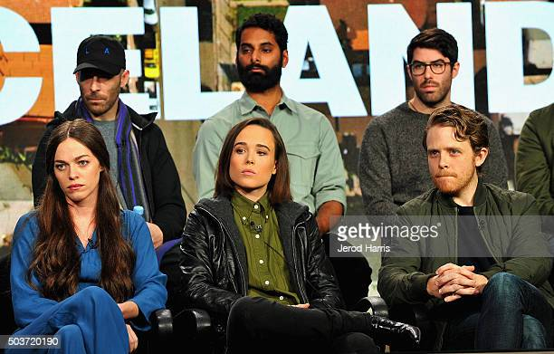 Krishna Andavolu of Weediquette Zach Goldbaum of Noisy Hailey Gates Ellen Page and Ian Daniel of Gaycation attend the Viceland panel at the AE...