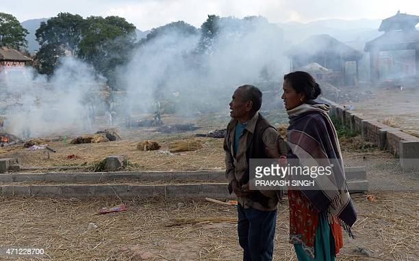 Krishna Bhakta Koju breaks down at the cremation of his daughter who was one of the victims of earthquake in Bhaktapur on the outskirts of Kathmandu...