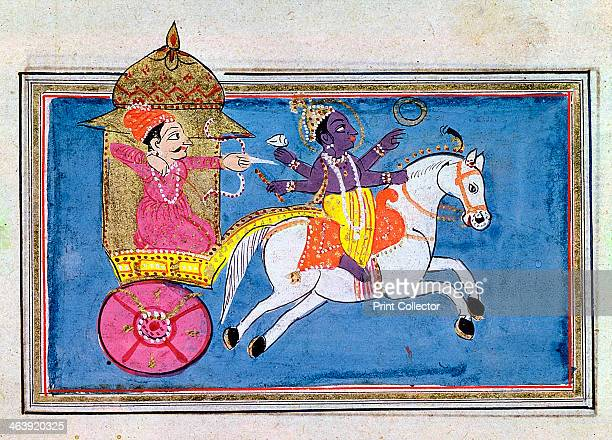 Krishna Hindu deity an avatar of Vishnu 17th century Illustration for the epic poem Mahabharata showing the hero Arjuna in a carriage behind Krishna...