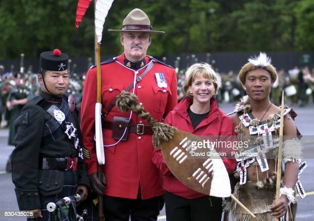 Krishna Rai of the 2nd Battalion The Royal Gurkha Rifles Jacques Ouellette Royal Canadian Mounted Police BBC presenter Hazel Irvine and Famie Zibaene...