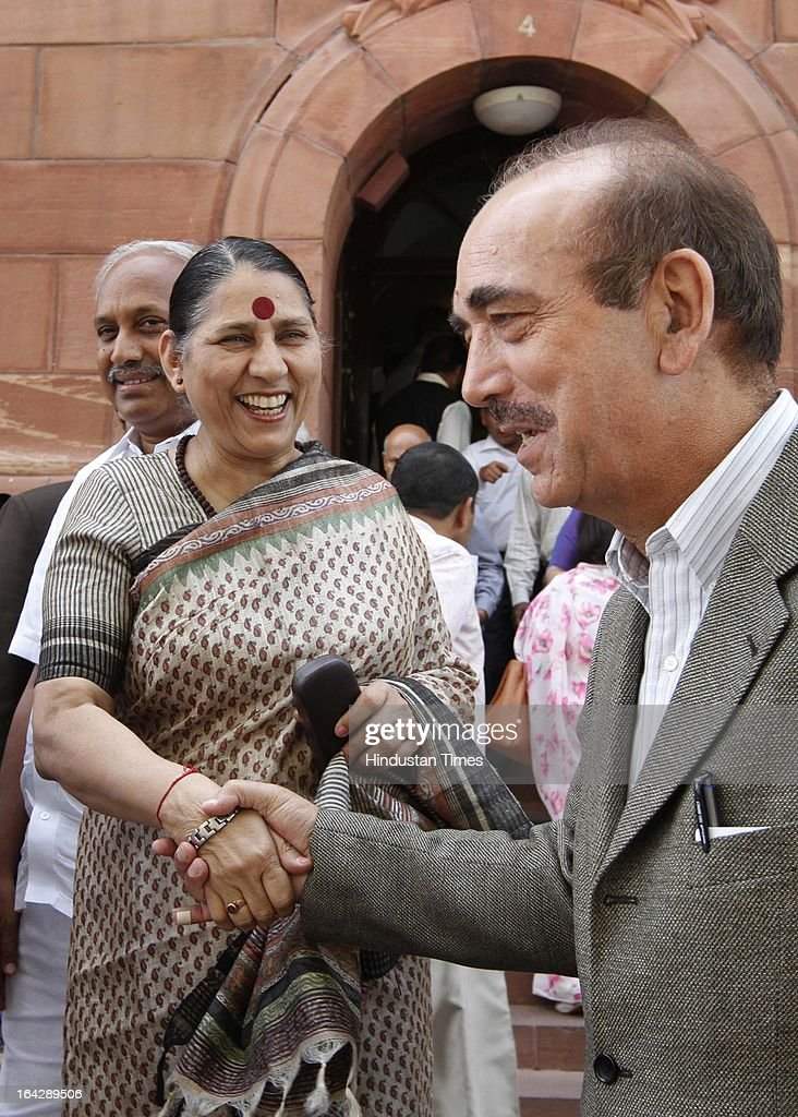 Krishna Tirath Union minister for women and Child with Ghulam Nabi Azad Union Health Minister at Parliament house for ongoing Budget Session on March 22, 2013 in New Delhi, India. The Lok Sabha failed to transact any business for the third consecutive day as proceedings remained paralysed over the Sri Lankan Tamils issue.