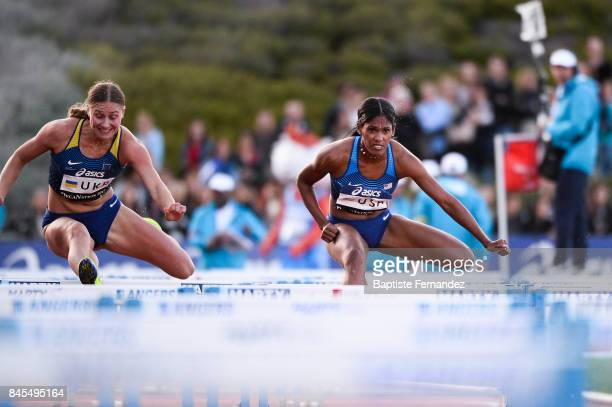Krisi Castlin of USA competes in 100m Hurdles during the DecaNation 2017 on September 9 2017 in Angers France