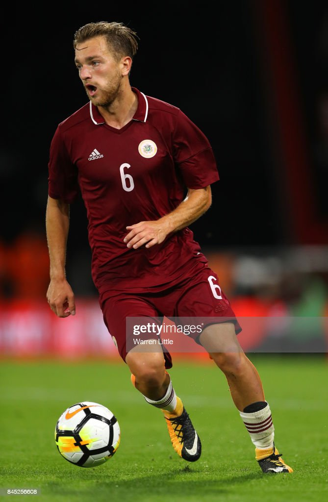 Kriss Karklins of Latvia in action during the UEFA Under 21 Championship Qualifiers between England and Latvia at the Vitality Stadium on September 5, 2017 in Bournemouth, England.
