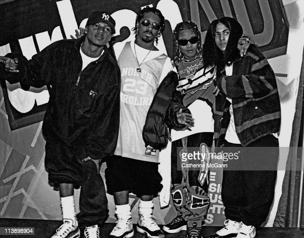 Kriss Kross Jermaine Dupri and Da Brat pose for a photo backstage at Madison Square Garden after Lifebeat's Urban Aid benefit concert on October 5...