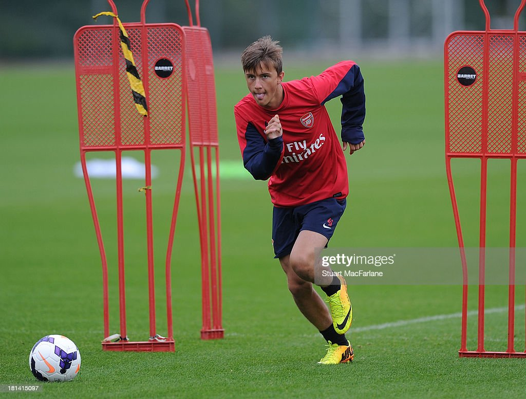 Kriss Olsson of Arsenal during a training session at London Colney on September 21, 2013 in St Albans, England.