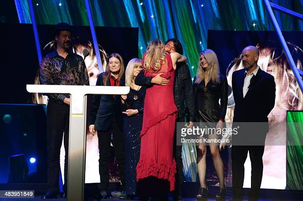 Krist Novoselic Kimberly Cobain Dave Grohl Courtney Love and Michael Stipe perform onstage at the 29th Annual Rock And Roll Hall Of Fame Induction...