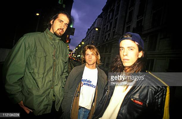 Krist Novoselic Kurt Cobain and Dave Grohl of Nirvana in London 1991