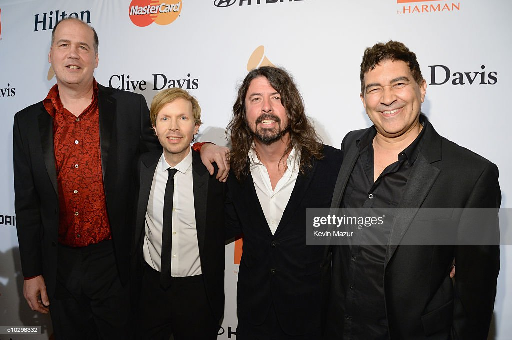 Krist Novoselic, recording artists Beck, Dave Grohl, and Pat Smear attend the 2016 Pre-GRAMMY Gala and Salute to Industry Icons honoring Irving Azoff at The Beverly Hilton Hotel on February 14, 2016 in Beverly Hills, California.