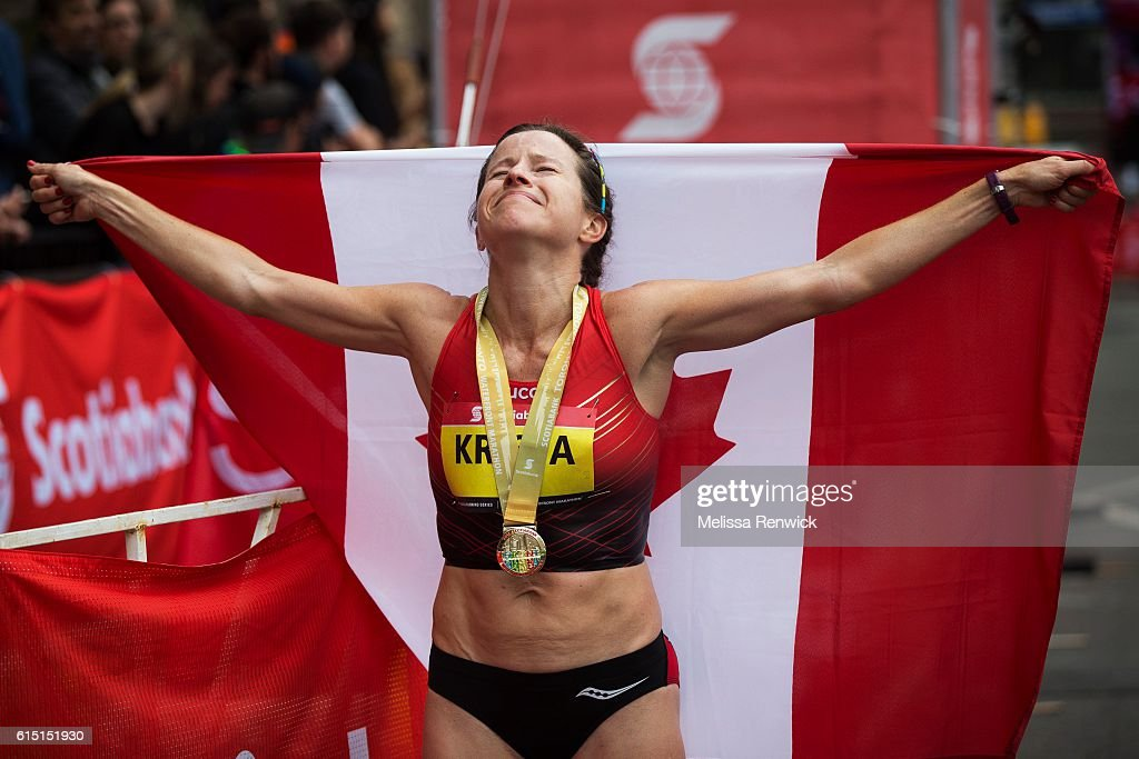 Krista DuChene was the first women's Canadian to cross the finish line at the Scotiabank Toronto Waterfront Marathon, in Toronto.
