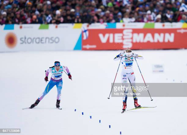 Krista Parmakoski of Finland and Stina Nilsson of Sweden during the women's cross country relay during the FIS Nordic World Ski Championships on...