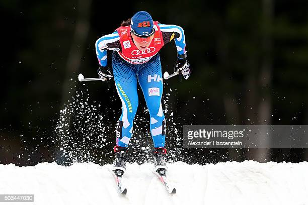 Krista Parmakoski of Finland competes at the Ladies 12km Classic Sprint Competition during day 1 of the FIS Tour de Ski event on January 5 2016 in...
