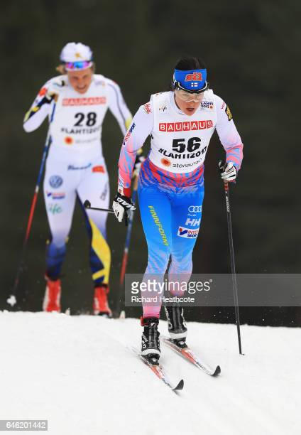 Krista Parmakoski of Finland competes in the Women's 10km Cross Country during the FIS Nordic World Ski Championships on February 28 2017 in Lahti...