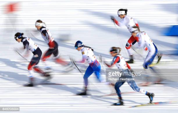 Krista Parmakoski of Finland competes in the Women's Cross Country Skiathlon during the FIS Nordic World Ski Championships on February 25 2017 in...