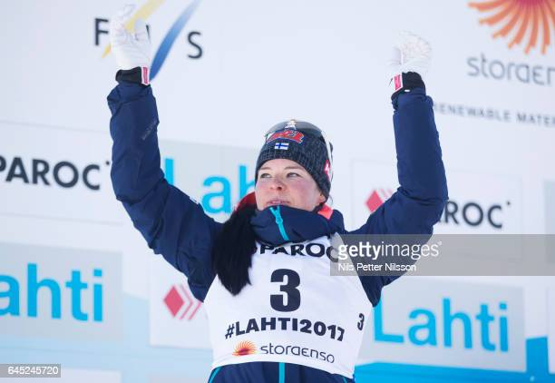 Krista Parmakoski of Finland during the cross country skiathlon during the FIS Nordic World Ski Championships on February 25 2017 in Lahti Finland