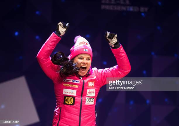 Krista Parmakoski of Finland during the price ceremony after the cross country skiathlon in the FIS Nordic World Ski Championships on February 25...