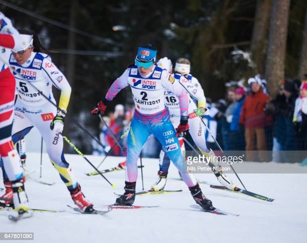 Krista Parmakoski of Finland during the women's cross country mass start during the FIS Nordic World Ski Championships on March 4 2017 in Lahti...
