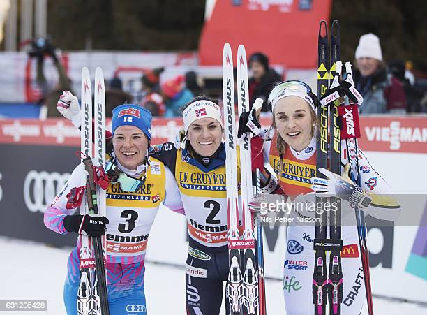 Krista Parmakoski of Finland Heidi Weng of Norway and Stina Nilsson of Sweden during the women's 9 km F Pursuit on January 8 2017 in Val di Fiemme...