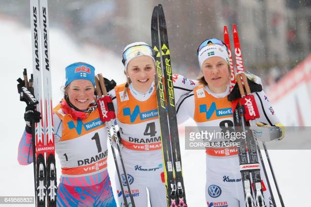 Krista Parmakoski of Finland Stina Nilsson of Sweden and Hanna Falk of Sweden pose after the Sprint competition of the FIS Cross Country World Cup in...