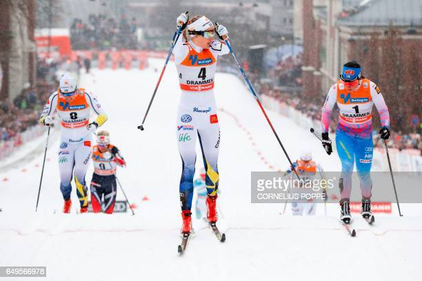 Krista Parmakoski of Finland Stina Nilsson of Sweden and Hanna Falk of Sweden compete during the Sprint competition of the FIS Cross Country World...