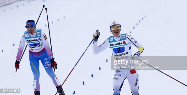 Krista Parmakoski of Finland wins the bronze medal Nilsson wins the silver medal during the FIS Nordic World Ski Championships Women's Cross Country...