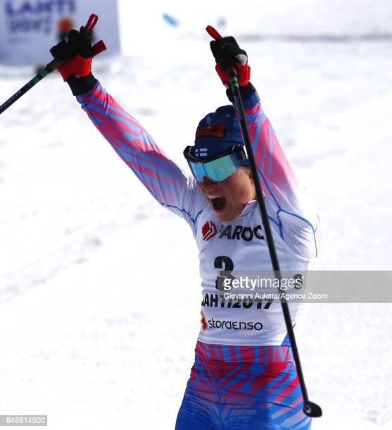 Krista Parmakoski of Finland wins the silver medal during the FIS Nordic World Ski Championships Men's and Women's Cross Country Skiathlon on...