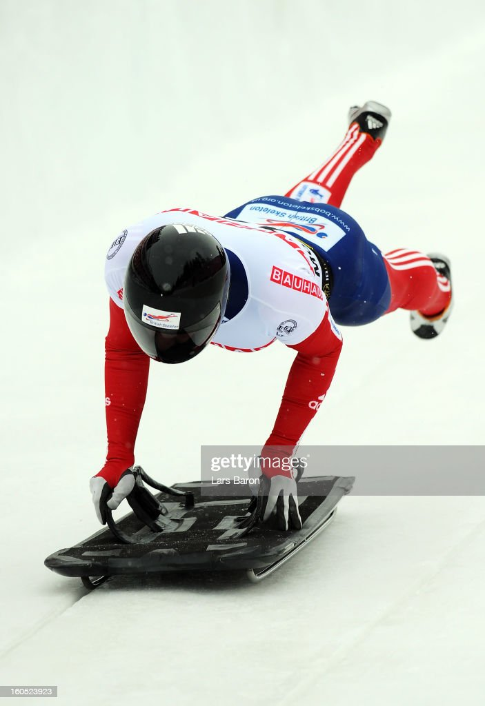 <a gi-track='captionPersonalityLinkClicked' href=/galleries/search?phrase=Kristan+Bromley&family=editorial&specificpeople=722647 ng-click='$event.stopPropagation()'>Kristan Bromley</a> of Great Britain competes during the man's skeleton third heat of the IBSF Bob & Skeleton World Championship at Olympia Bob Run on February 2, 2013 in St Moritz, Switzerland.