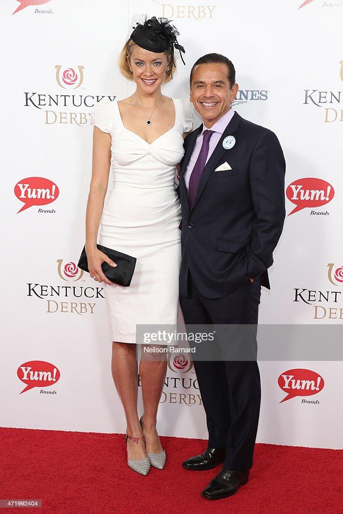 Kristanna Loken and Antonio Villaraigosa attend the 141st Kentucky Derby at Churchill Downs on May 2 2015 in Louisville Kentucky